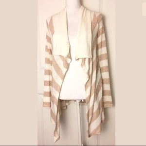 Splendid Stripe Rose Gold Ivory Open Cardigan Sz S